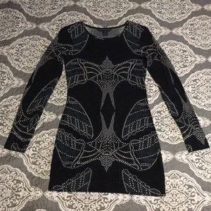 ⭐️ Navy bodycon long sleeve mini dress sz 4 Small
